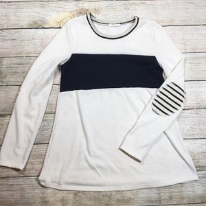 Colorblock Sweater Patch Elbows 12 PM by Mon Ami